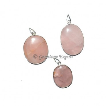 Rose Quartz Oval Pendants
