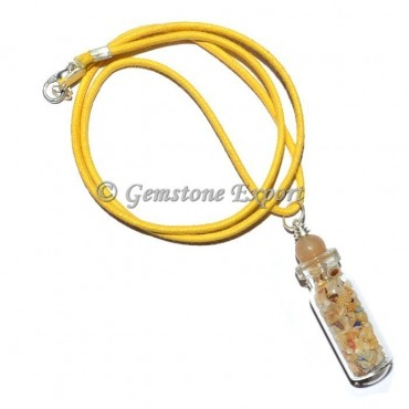 Yellow Aventurine Bottle Pendants with Yellow Ball