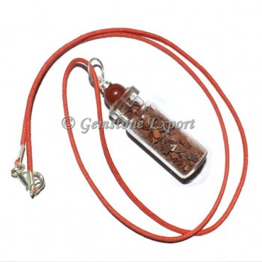 Red Jasper Bottle Pendants with Red Ball