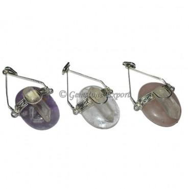 Oval Stones Healing Crystals Pendants