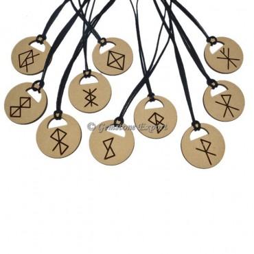 Zodiac Sign Symbols Wooden Pendant