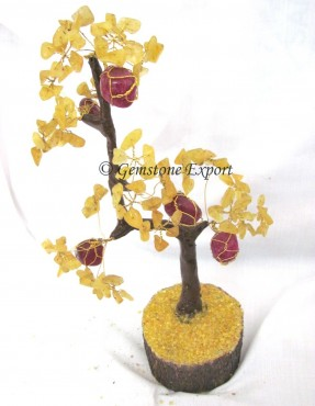 Yellow Agate & Ruby Stone Gemstone Tree