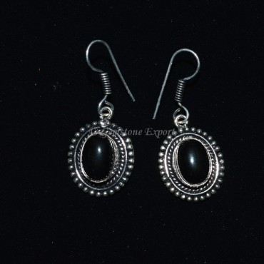Black Onyx Oval Earing