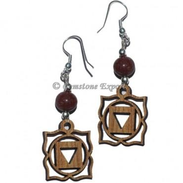 Root Chakra Symbols Earrings - 7 Chakra Stone Earrings