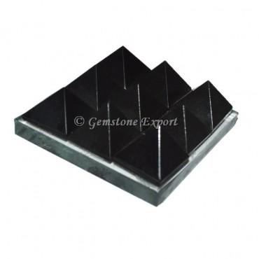 Black agate Lemurian 9 Charging Plate Pyramid