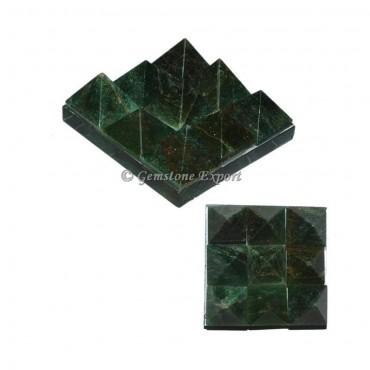 Dark Green Aventurine Lemurian 9 Charging Plate  Pyramid