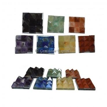 7 chakra 9 Cut Vastu Pyramid Plate Set