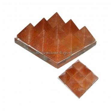 Peach Aventurine Lemurian 9 Charging Plate Pyramid