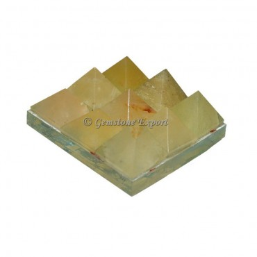 Golden Quartz Lemurian 9  Charging Plate Pyramid