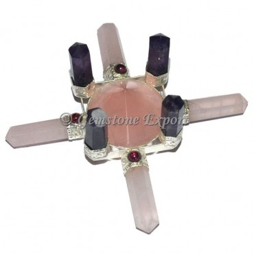 Rose quartz and Amethyst 8 Point Generator