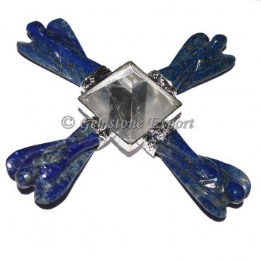 Lapis Lazuli Angel Generator with Crystal Pyramids