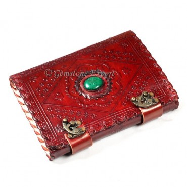 Melachite Stone hand made Leather Journals