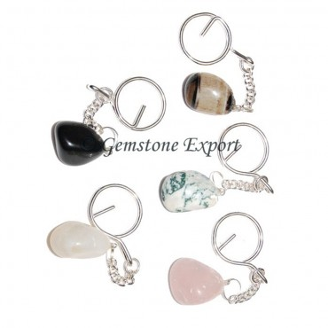 Mix Agate Tumbled Stone Keyrings