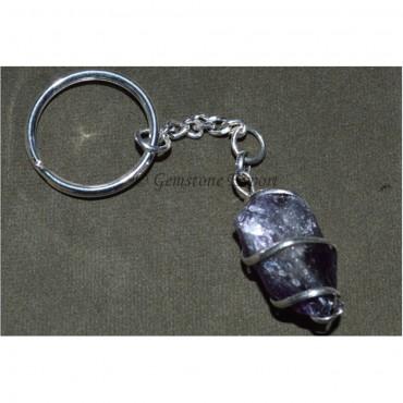 Amethsyt Hammered Pendulum Shape Keyring