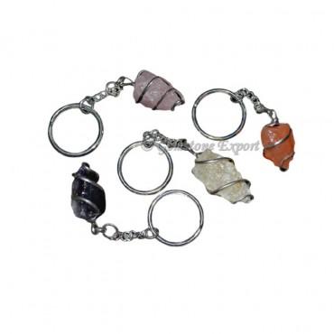 Mix Gemstone Hammered Pendulums Shape Keyring