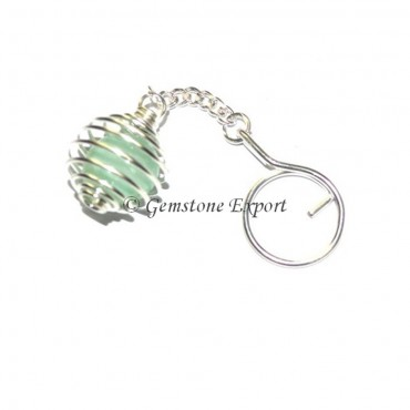 Light Green Aventurine Cage Tumbled Keyring