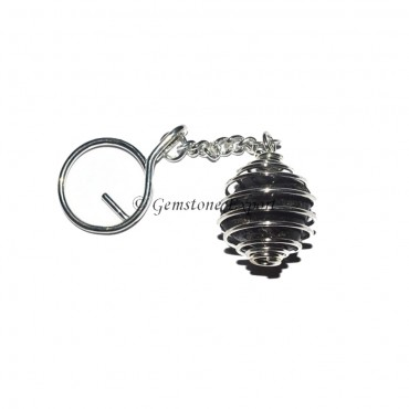 Black Agate Cage Tumbled Keyring