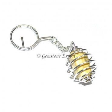 Tiger Eye Cage Tumbled Keyring