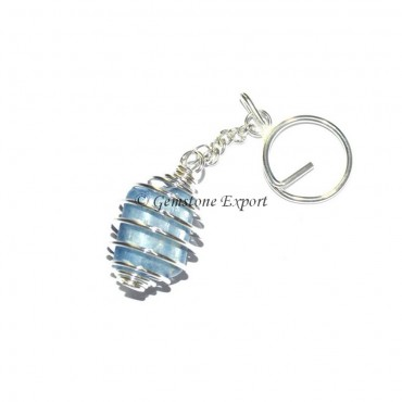 Kyanite Cage Tumbled Keyring