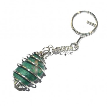 Moss Agate Cage Tumbled Keyring