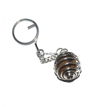 Fancy Agate Cage Tumbled Keyring
