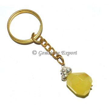 Yellow Faceted Tumbled Keyring