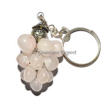 Rose Quartz Grapes Keychain