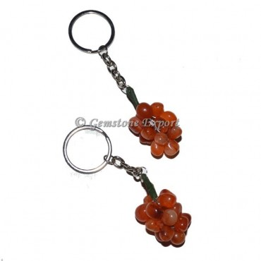Carnellian Stone Grape Keychain