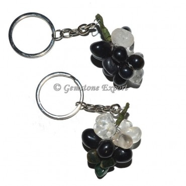 Black and Crystal Grapes Keychain