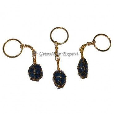 Blue Agate Wrapping Tumbled Keychain