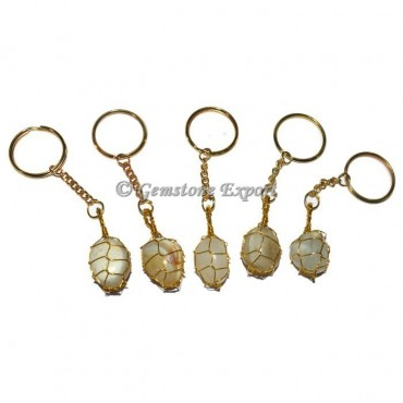 Agate Banded Wrapping Keychain