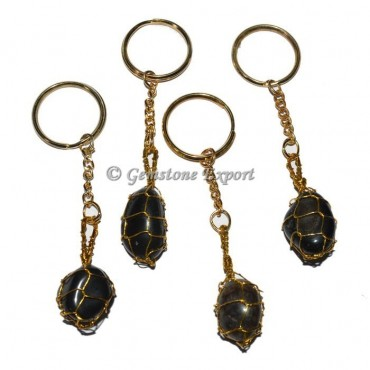 Black Onyx Wrapping Tumbled Keychain