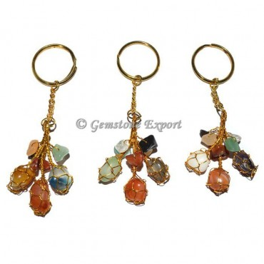 Multi Tumbled and chips Keychain