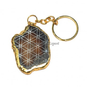 Agate Brown Engraved Slices Keychain