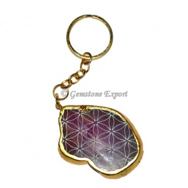 Agate Pink Engraved Slices Keychain