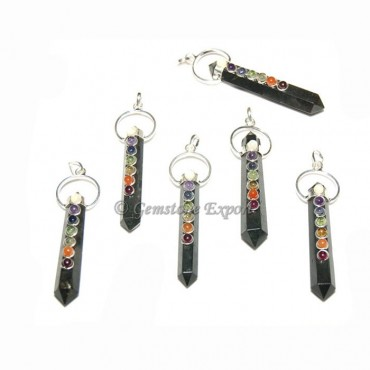 Black Agate Double Terminated Chakra Pendants