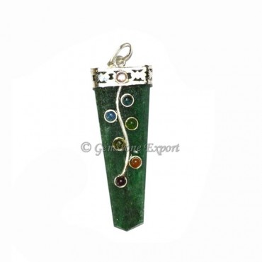 Green Jade Chakra Flate Pencil Leaf Pendants