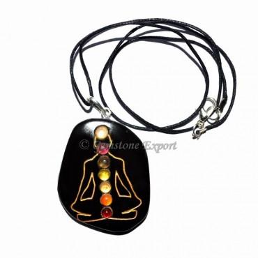 Black Agate Chakra Budhdha Pendants