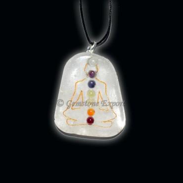 Crystal Quartz Chakra Budhdha Pendants