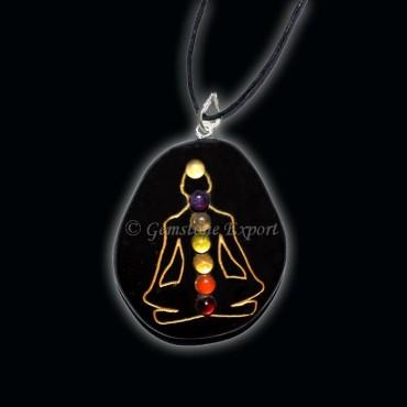 Black Jasper Engraved Budhdha Chakra Pendants
