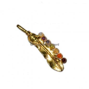 Chakra Leaf Gold Pendants