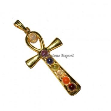 Chakra Ankh Gold Pendants