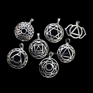Chakra Symbol Metal Pendants Set