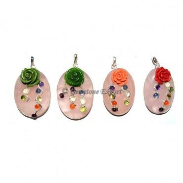 Rose Quartz Chakra Fancy oval Pendants