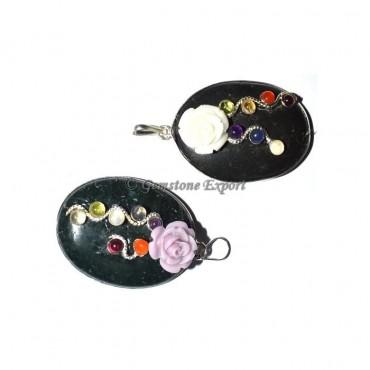 Black Jasper  Fancy Chakra Oval Pendants