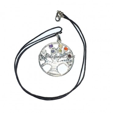 Flower of Life chakra Tree Pendants with Cord