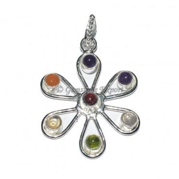 Flower Of Life Seven Chakra Pendant