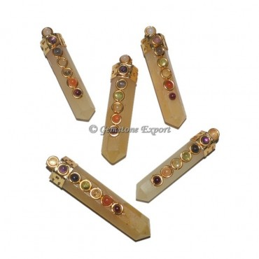 Golden Quartz Seven Chakra Pendant