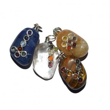 Assorted Stone Chakra Tumbled Pendants