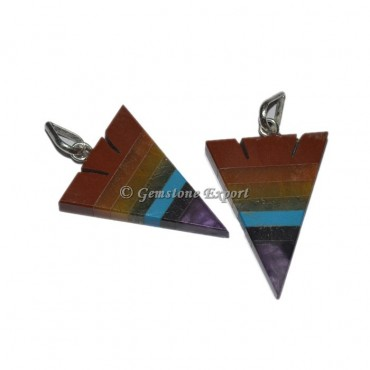 Seven Chakra Arrowhead Pendants